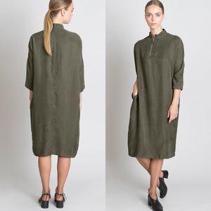 NWT Solika Lilou Olive Shift Zip Midi Dress